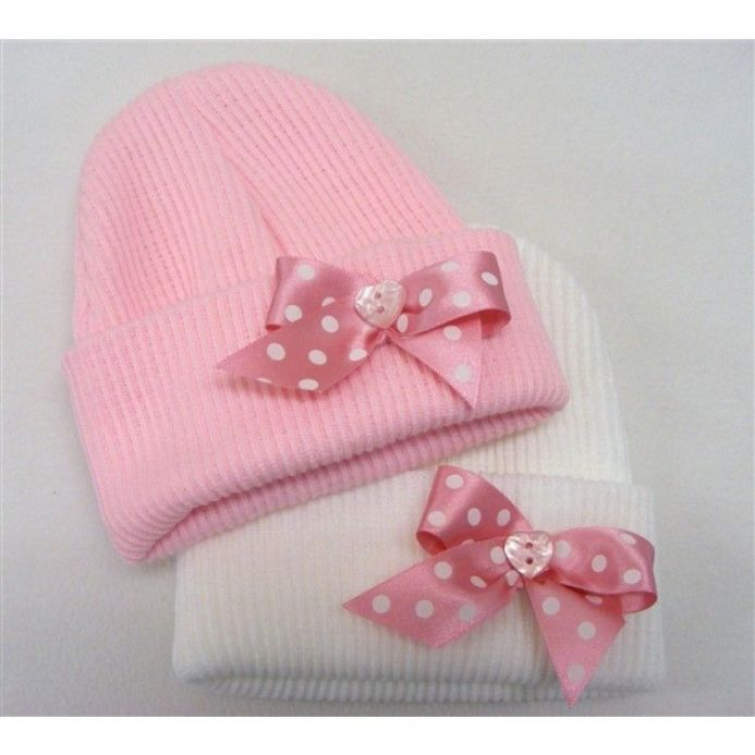 Second Size Ribbed Beanie with Bow Detail